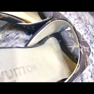 128b65a83a73 Louis Vuitton Shoes - LV Monogram Mule Slides Block Heel size 8M